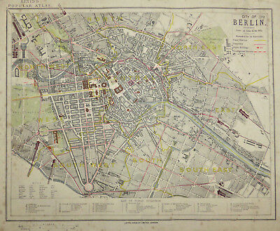 'City of Berlin' 1883 city plan by Letts