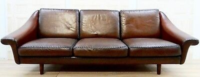 Fully Restored De Sede Switzerland Hand Dyed Vintage Brown Leather 3 Seat Sofa