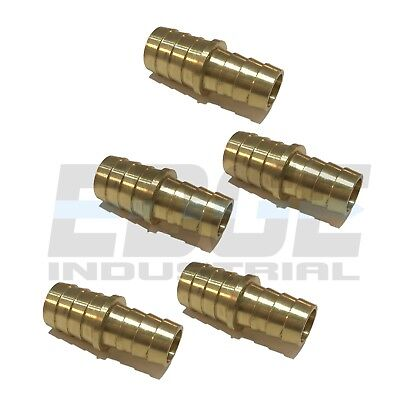 5 Pack 3/4 X 5/8 Hose Barb Mendor Union Splicer Brass Pipe Fitting WOG Fuel Air