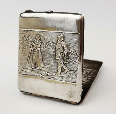 Antique SILVER PLATED Continental WINTER SPORTS / SKIING MATCHBOOK CASE c1910