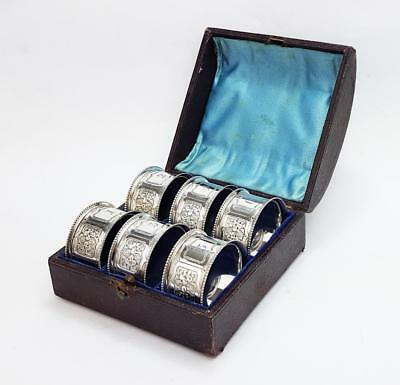 6x Victorian DECORATIVE SILVER PLATED Cased NAPKIN RINGS c1890