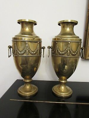 A pair of Antique Vintage Brass Vases 13 inches tall