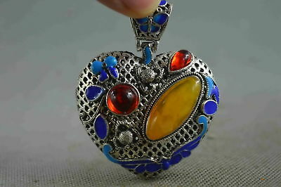 Collectible Handwork Miao Silver Inlay Amber Carve Flower Auspicious Pendant