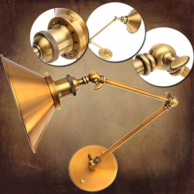 Vintage E27 Swing Arm Brass Wall Lamp Sconce Living Room Stair Restaurant