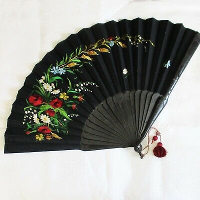 "Victorian French Black Silk 15"" Fan Floral Needlework Silk Tassel"