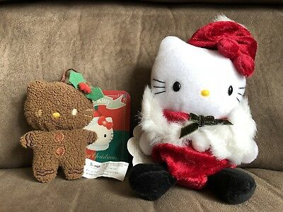 """Rare Hello Kitty Christmas """"Gingerbread Cookie """" & """"Festive Red"""" Plush Doll"""