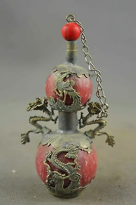 Collectible Old Miao Silver Carve Dragon Phoenix Inlay Agate Lucky Snuff Bottle