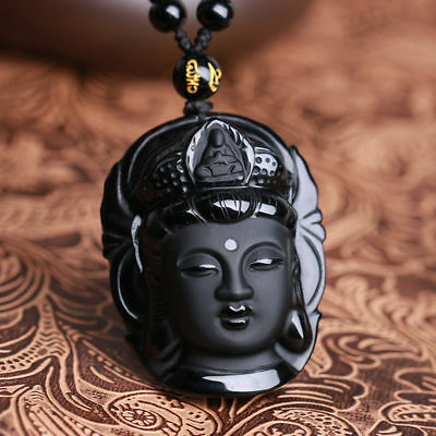 Natural Black Obsidian Kwan-yin Pendant Charm Necklace Lucky Jewelry Collocation