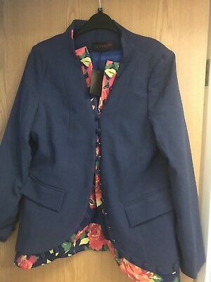 Blue Floral Lines Iunique Jacket Size 14