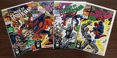 Web of Spider-Man # 77 78 79 80 all signed by Alex Saviuk with Notarized WOS
