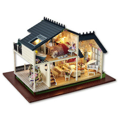 Wooden Kids Doll House With Furniture Staircase LED Lights Fits Dollhouse