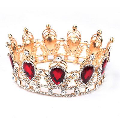 Bride Ruby Red Sparkling Crystal Rhinestone Crown Gold King Queen Tiara Wedding