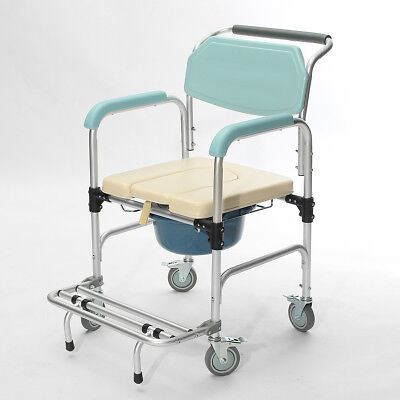 3-in-1 Commode Wheelchair Bedside Toilet & Shower Seat Bathroom Rolling Chair