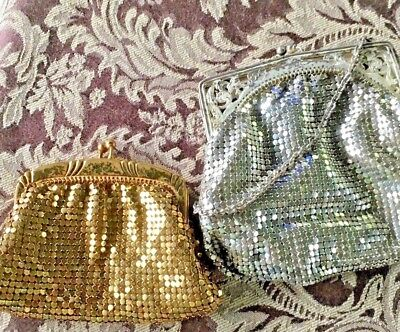 Lot of 2 Vintage Chain Mail Style Coin Purses