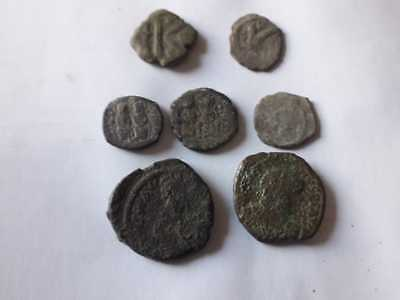 Lot Of 7 Ancient Bronze Bizantine Coins