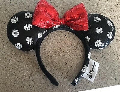 Disney Parks Sequin Minnie Mouse Ears Headband Black White Polka Dot Red Bow