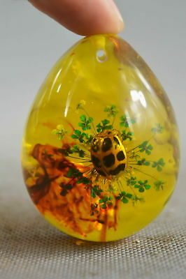 Collectible Old Amber Inside Inlay Rare Insect Noble Auspicious Usable Pendant