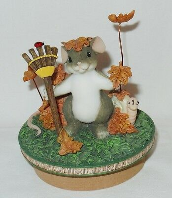 Charming Tails CHANGE IS IN THE AIR Candle Topper Autumn Fall mouse figurine HTF