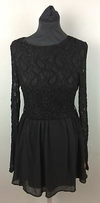Missguided Women/'s White Ladder Detail Lace Skater Dress size 8,10