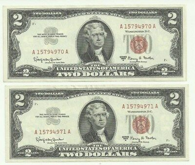 2 Two Dollar Red Seal Notes Sequential Great Looking Notes!!! 15794970-15794971