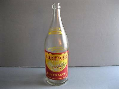 SARATOGA CLUB Beverages Red & Yellow ACL Quart Soda Bottle