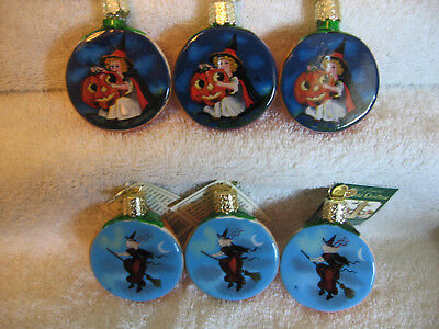 Owc Halloween Ornament Lot Of 6,inside Art,retired,old World Christmas,box,my E
