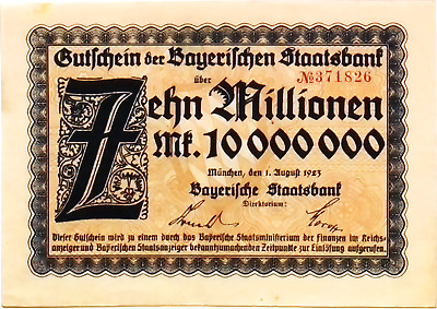 1923 Germany BAVARIA 10.000.000 / 10 Million Mark Banknote