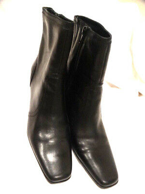 Pair of Pre-owned Style & Co. Black Zip Up Ankle Boots, US Size 8.5, Chunky Heel