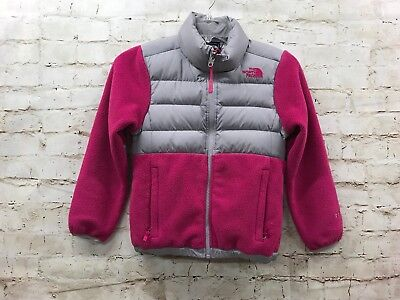 The North Face Girls Medium 7/8 Puffer Fleece 550 Jacket Pink Gray