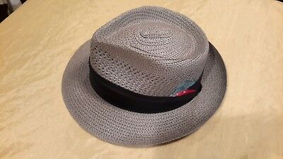 NEW, Worth Hats vintage fedora style & straw, VINTAGE, HAND MADE, GRAY