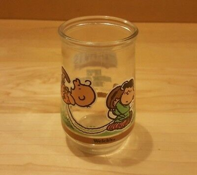 Welch's Jelly Glass Peanuts Charlie Brown Lucy Time For Kickoff Football #4