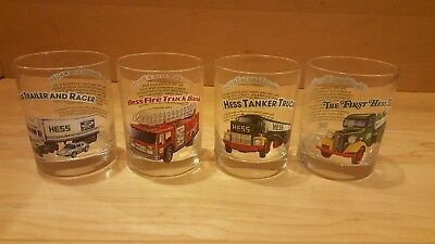 4 Hess Tanker  Truck Glasses Complete Set 1996 Mint Condition