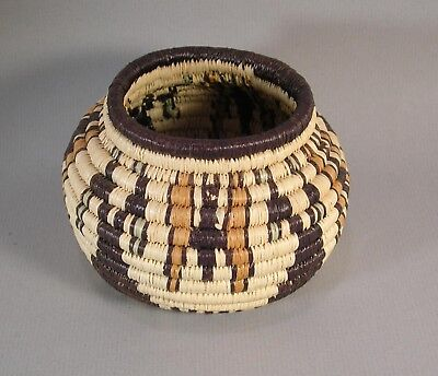 VINTAGE FINELY COILED HOPI POLYCHROME Pictorial INDIAN BASKET OLLA Butterflies