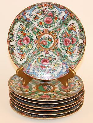 7 Chinese Export Rose Famille Plates