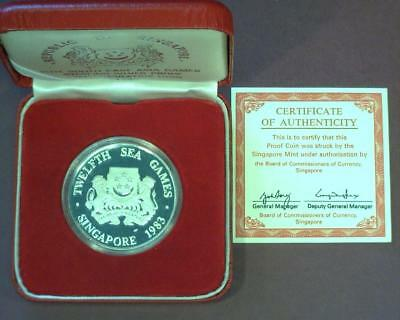 SINGAPORE 12th ASIA GAMES 1983 STERLING SILVER COMMEMORATIVE KM25a PROOF ~SI01