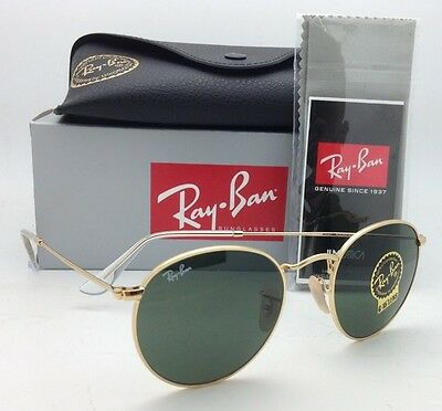 New Ray-Ban Sunglasses ROUND METAL RB 3447 001 47-21 Gold with G-15 Green Lenses