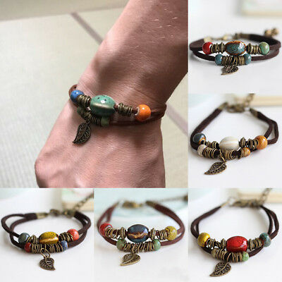 Women Men Handmade Multilayer Rope Leather Bangle Drop Ceramics Beads Bracelet