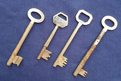 Nice Lot Of 4 Big Vintage Old Skeleton Safe / Prison Keys Marked And Numbered.