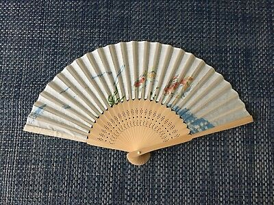 Vintage Wooden Japanese Fan with Koi Fish Design on Fabric