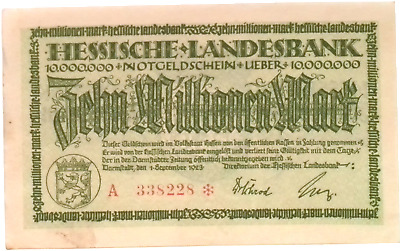 1923 Germany HESSEN 10.000.000 / 10 Million Mark Banknote
