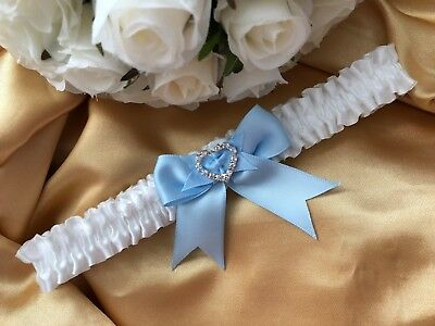 WEDDING GARTER white satin baby blue heart crystal gift for bride bridal shower