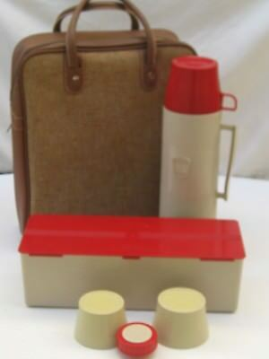 Vintage MCM THERMOS picnic lunch box set red tan tweed tote Excellent Condition