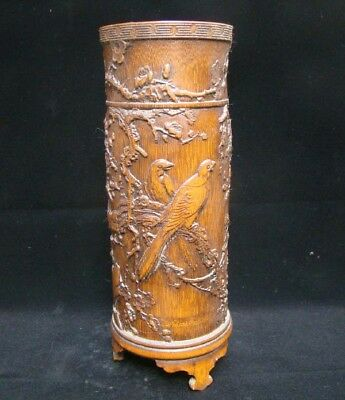 300mm Collectible Handmade Carving Bamboo Brush Pot Statue Flower Bird