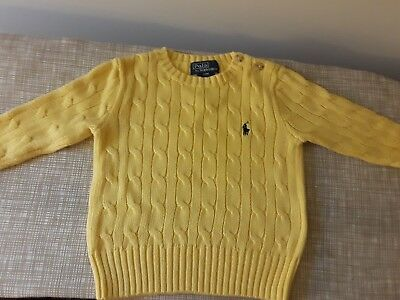 Baby Boy Cable Knit Polo Ralph Lauren Green Buttoned Sweater Size 9 Months