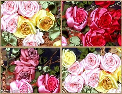 Ribbon Embroidery Kit A Basket of Roses Red Pink Yellow Craft Kit XZ1033