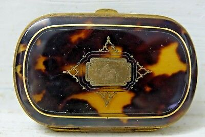 Very Fine Quality Early Faux Tortoise Shell Purse Inlaid With Gold - Very Rare