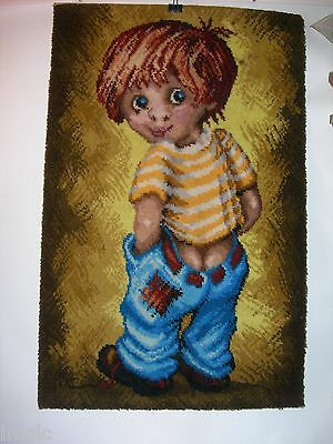 Vtg REX TEXTILE~Droopy Britches Little Boy~WOVEN WALL HANGING~MID CENTURY MODERN