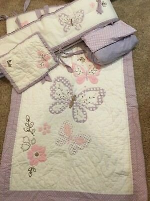 Pottery Barn Kids Gabrielle Crib Bedding Set Lavender Flowers Butterflies Girls