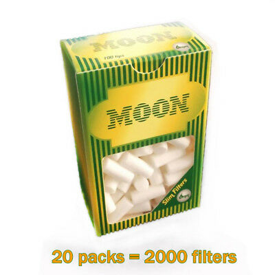 Cigarette filters 6mm Moon Brand Filters pack of 20 2000 filters