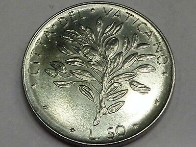 Vatican City 50 Lire 1971 Pope Paul VI AN IX Olive Branch Coat of Arms